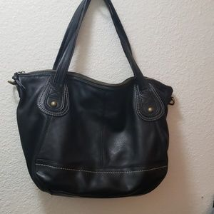 Large black leather bag
